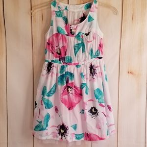 Cherokee Pink & Teal Floral Cotton & Tulle Dress